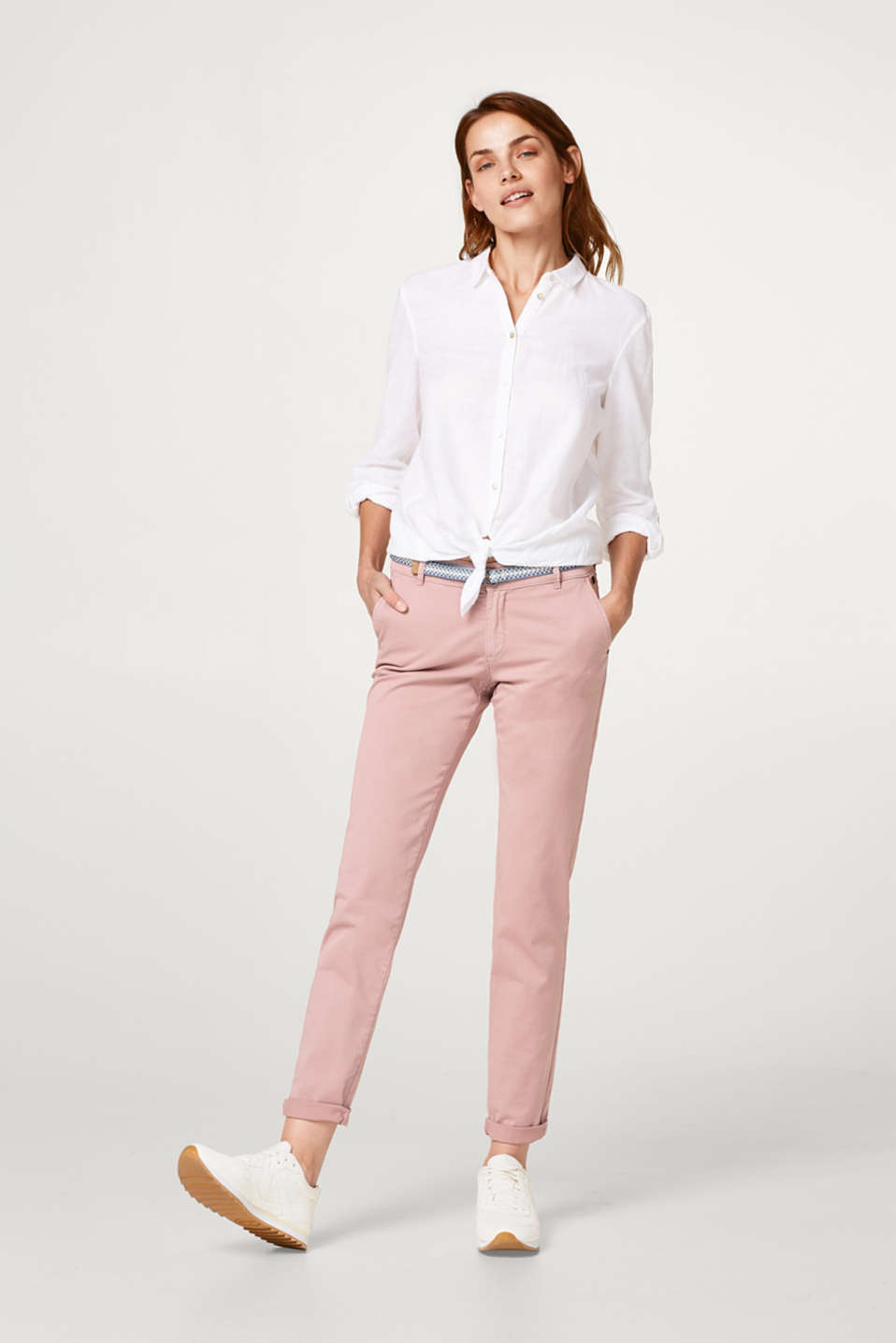 Lightweight stretch cotton chinos