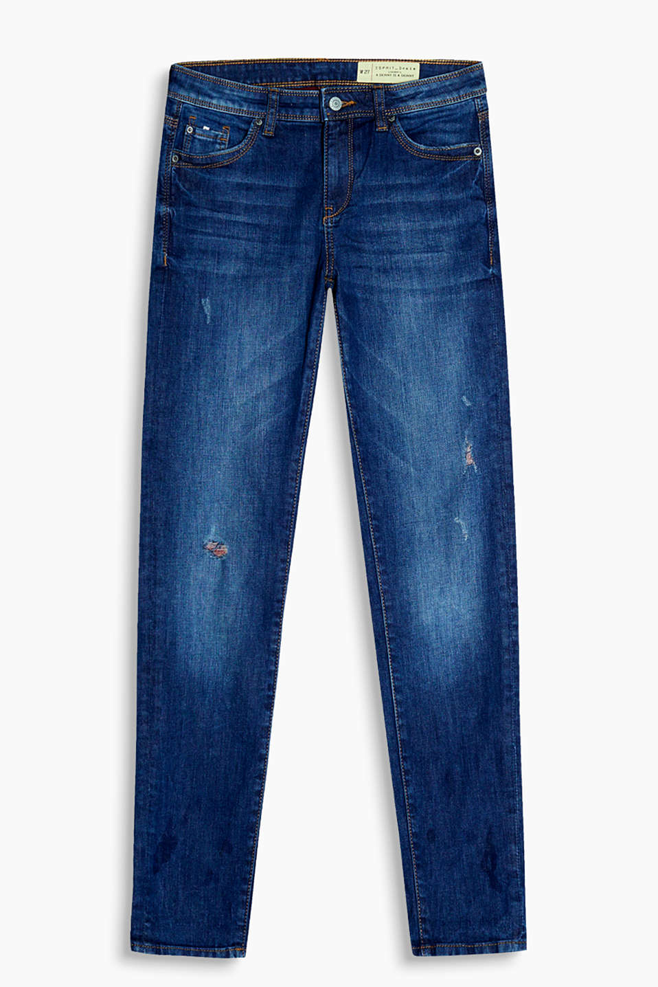 Esprit - Stretch jeans with destroyed effects
