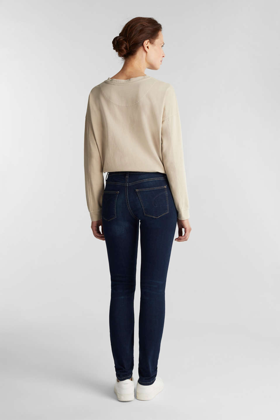 Stretch organic cotton blend jeans, BLUE DARK WASH, detail image number 3