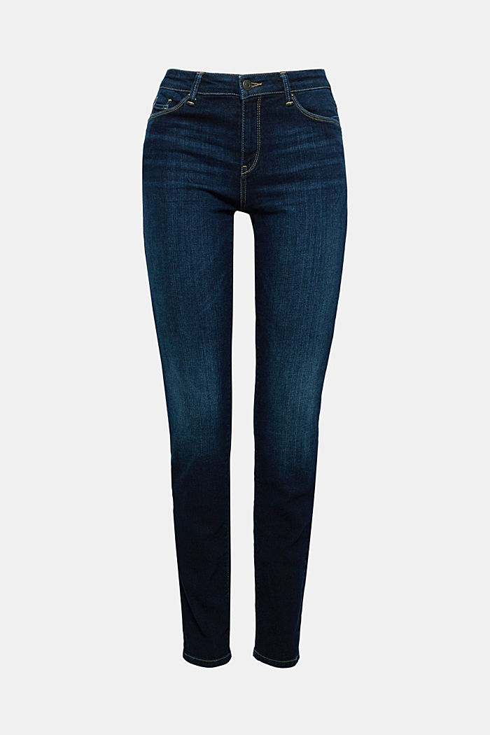 Stretch jeans with organic cotton, BLUE DARK WASHED, detail image number 5