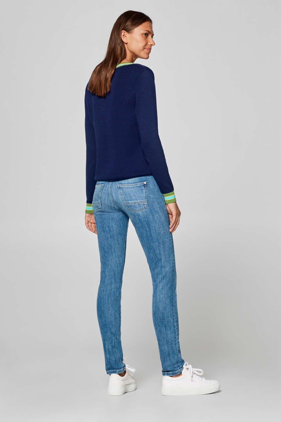 Super stretch jeans with organic cotton, BLUE MEDIUM WASH, detail image number 3