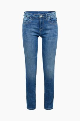 Super stretch jeans with organic cotton, BLUE MEDIUM WASH, detail