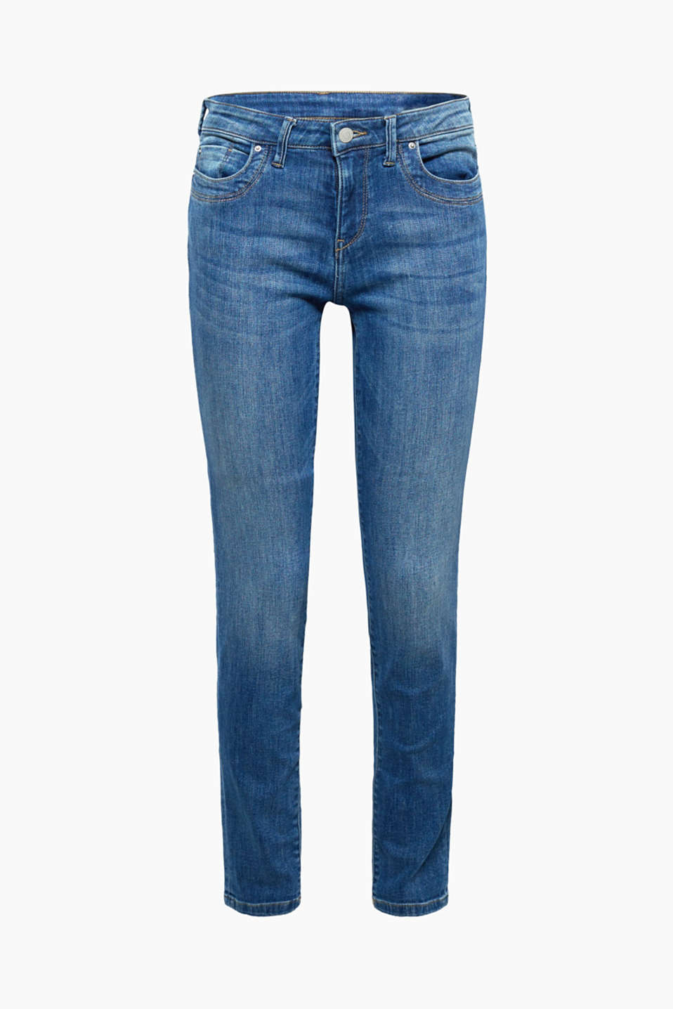 Super stretch jeans with organic cotton, BLUE MEDIUM WASH, detail image number 7