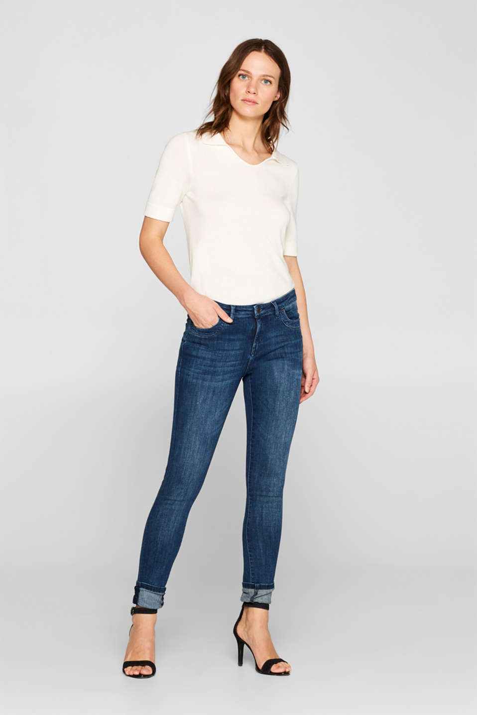 Esprit - Superstretch-Denim mit Organic Cotton