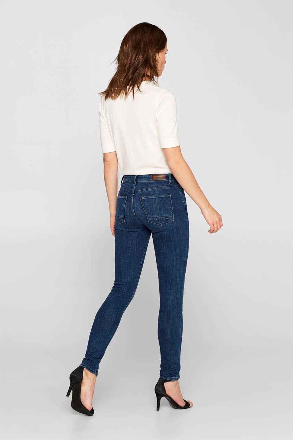 Super stretch jeans in organic cotton, BLUE DARK WASH, detail image number 3