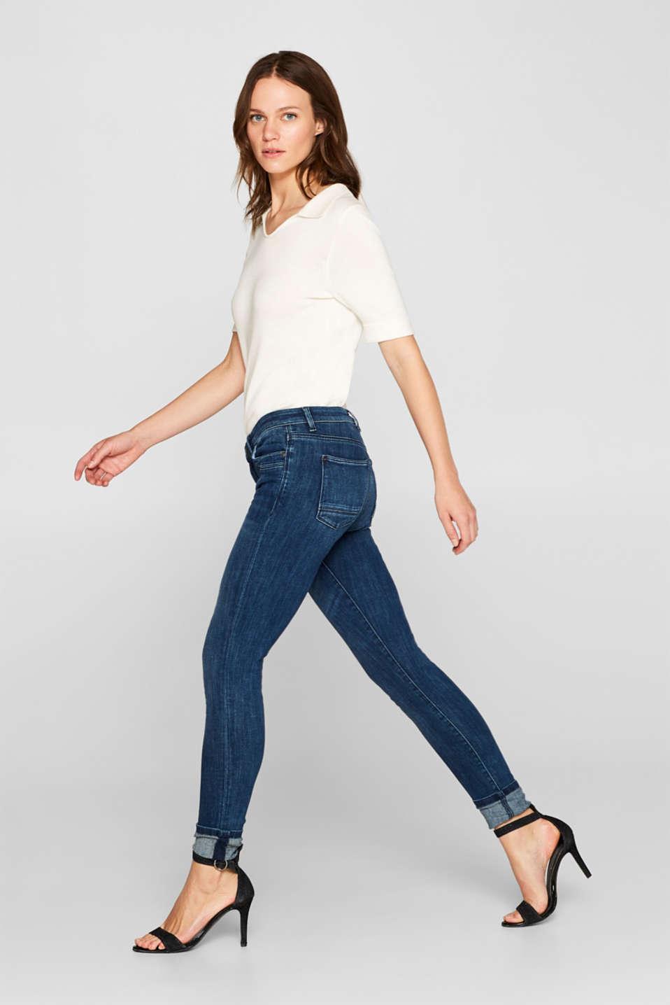 Super stretch jeans in organic cotton, BLUE DARK WASH, detail image number 5