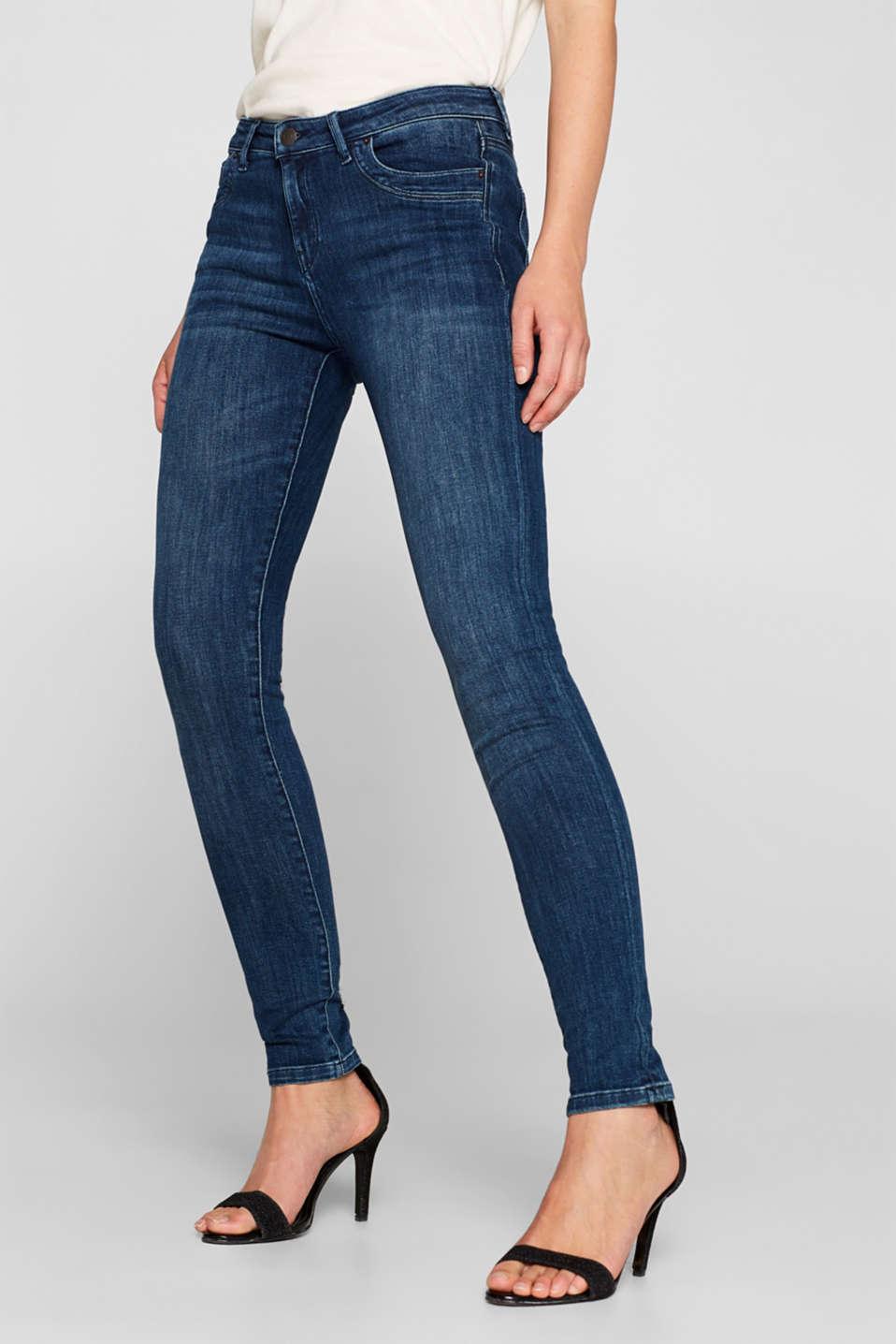 Super stretch jeans in organic cotton, BLUE DARK WASH, detail image number 7