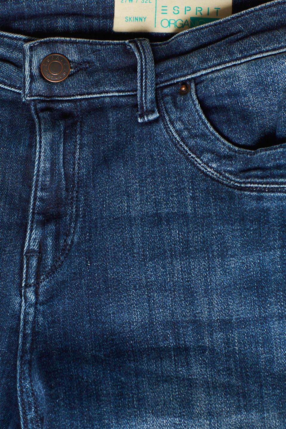 Super stretch jeans in organic cotton, BLUE DARK WASH, detail image number 4