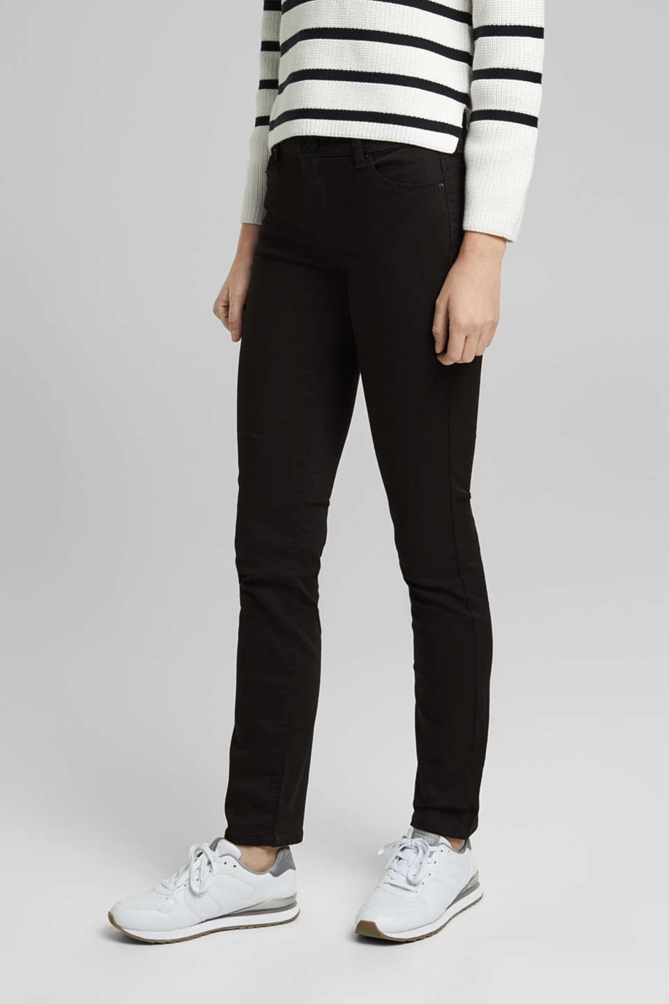 Basic stretch jeans with organic cotton, BLACK, detail image number 0