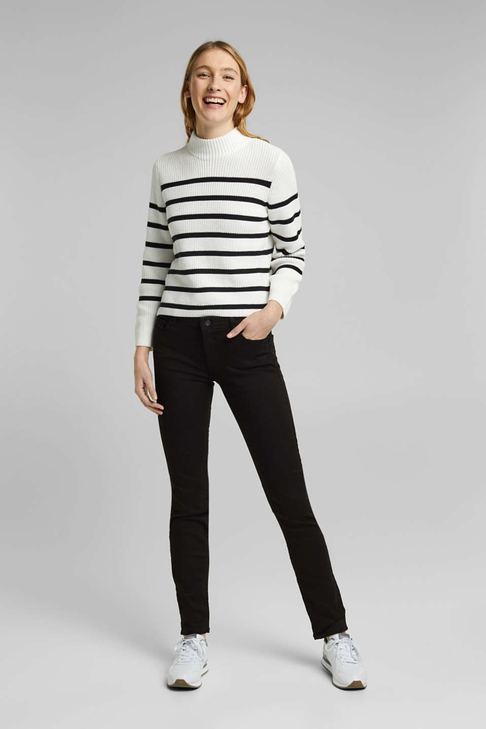 Basic stretch jeans with organic cotton, BLACK, detail image number 6