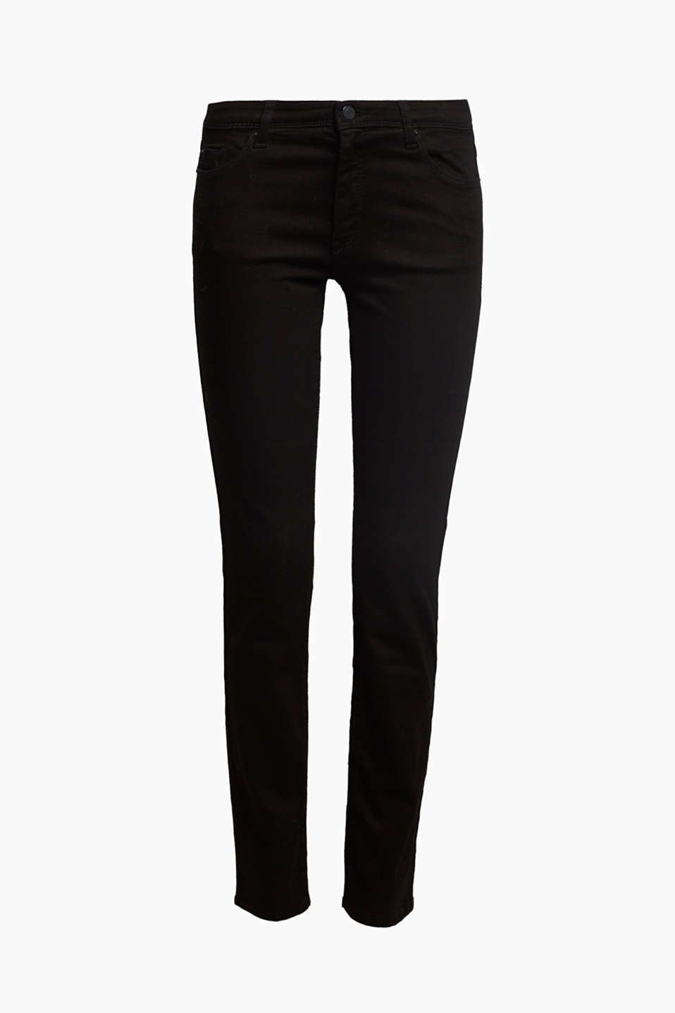 Basic stretch jeans with organic cotton, BLACK, detail image number 7