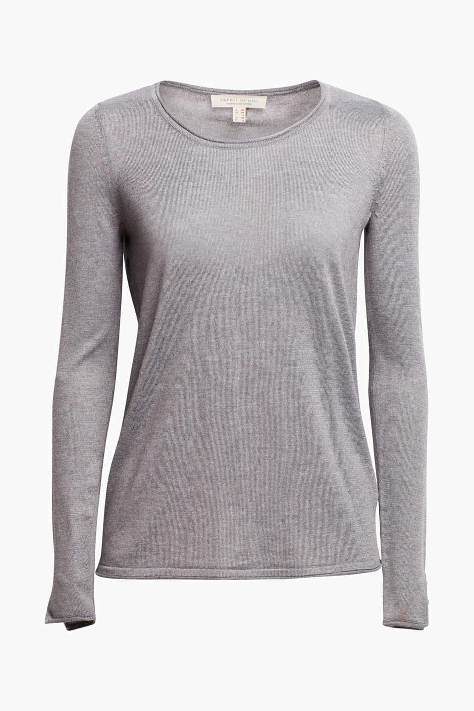 Sweaters, GUNMETAL 5, detail image number 5