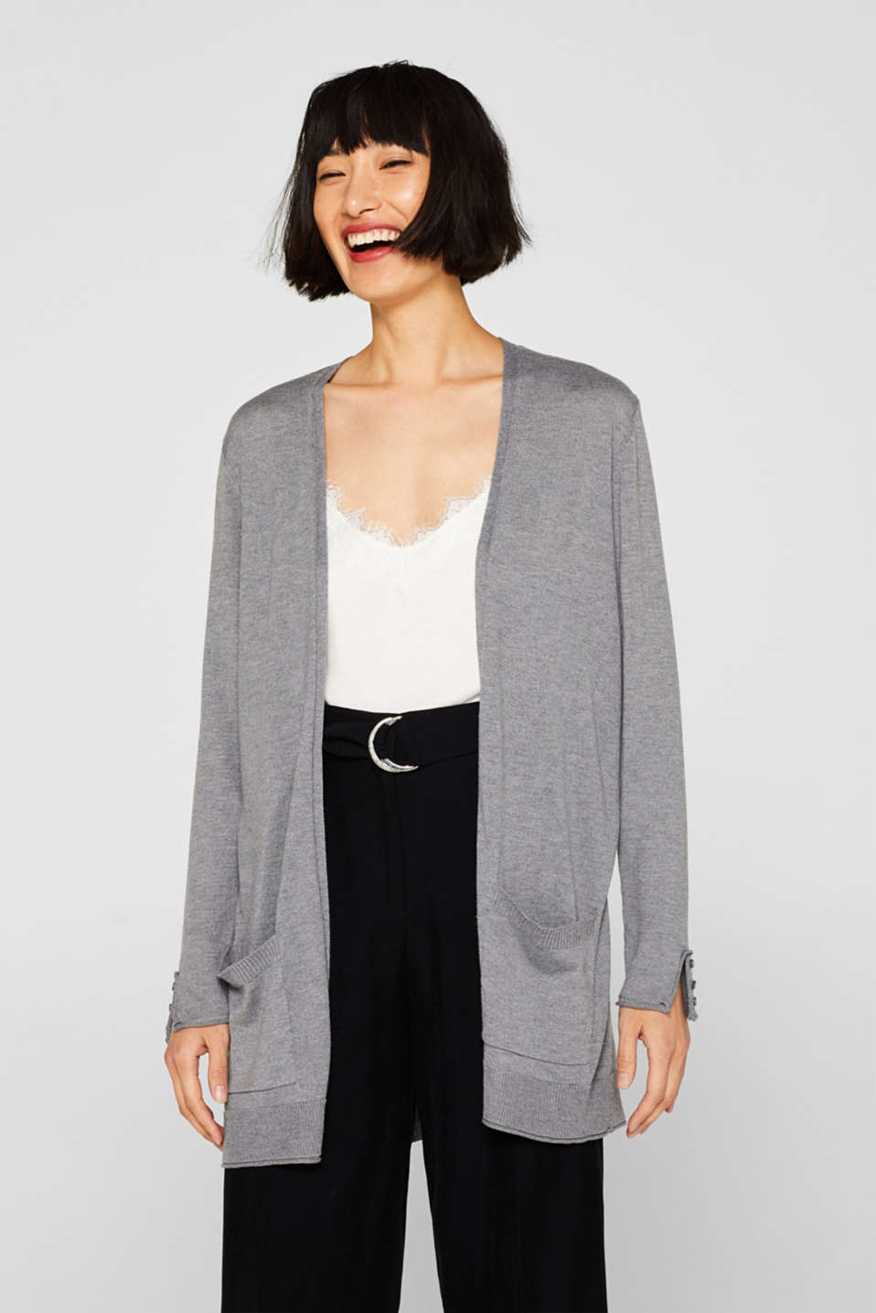 Esprit - Long fine-knit cardigan with sleeve buttons