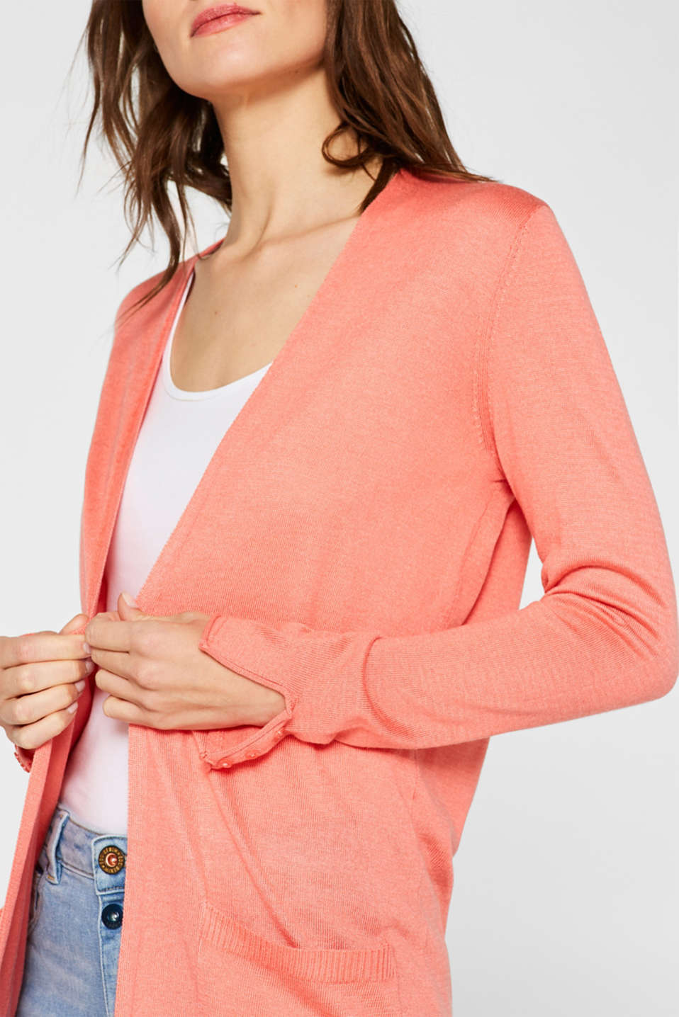 Long fine-knit cardigan with sleeve buttons, CORAL 5, detail image number 2