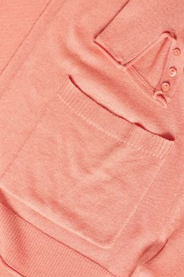 Long fine-knit cardigan with sleeve buttons, CORAL 5, detail
