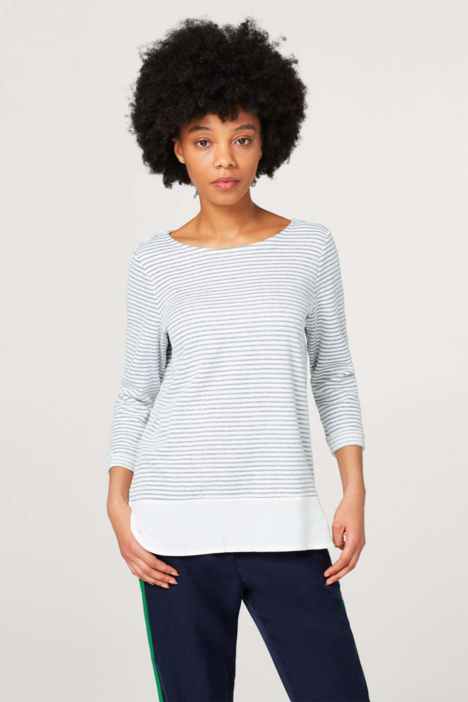 Esprit - Light, textured sweatshirt with a cloth hem