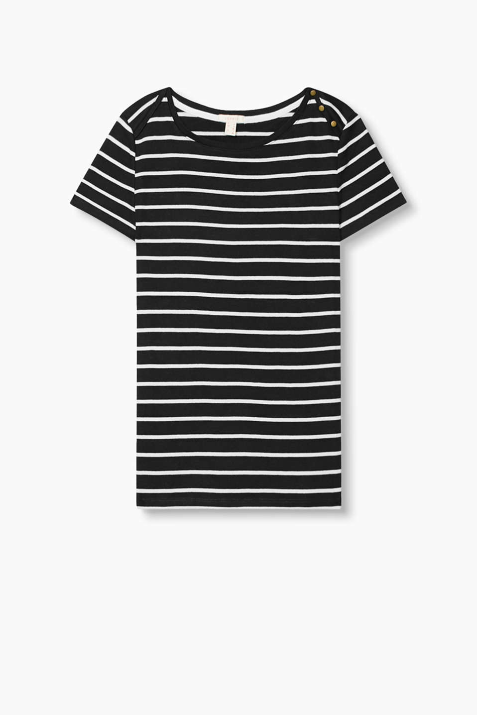 This nautical, striped cotton T-shirt with a bateau neckline and shoulder buttons is a perfect essential!