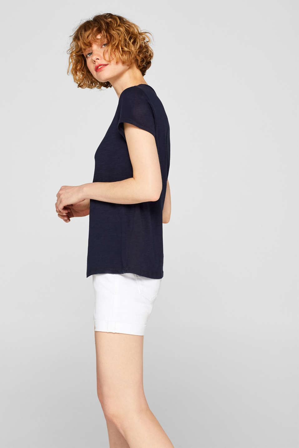 Slub jersey T-shirt in 100% cotton, NAVY, detail image number 5