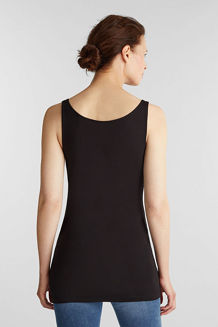 Basic top in stretch cotton, BLACK, detail image number 3