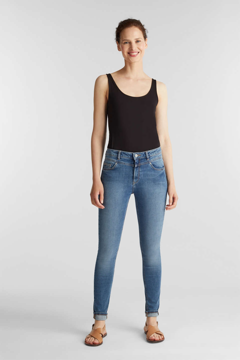 Basic stretch top in organic cotton