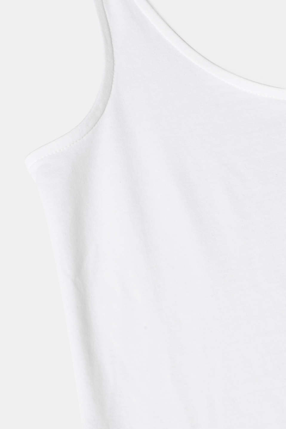 Basic top in stretch cotton, WHITE, detail image number 4
