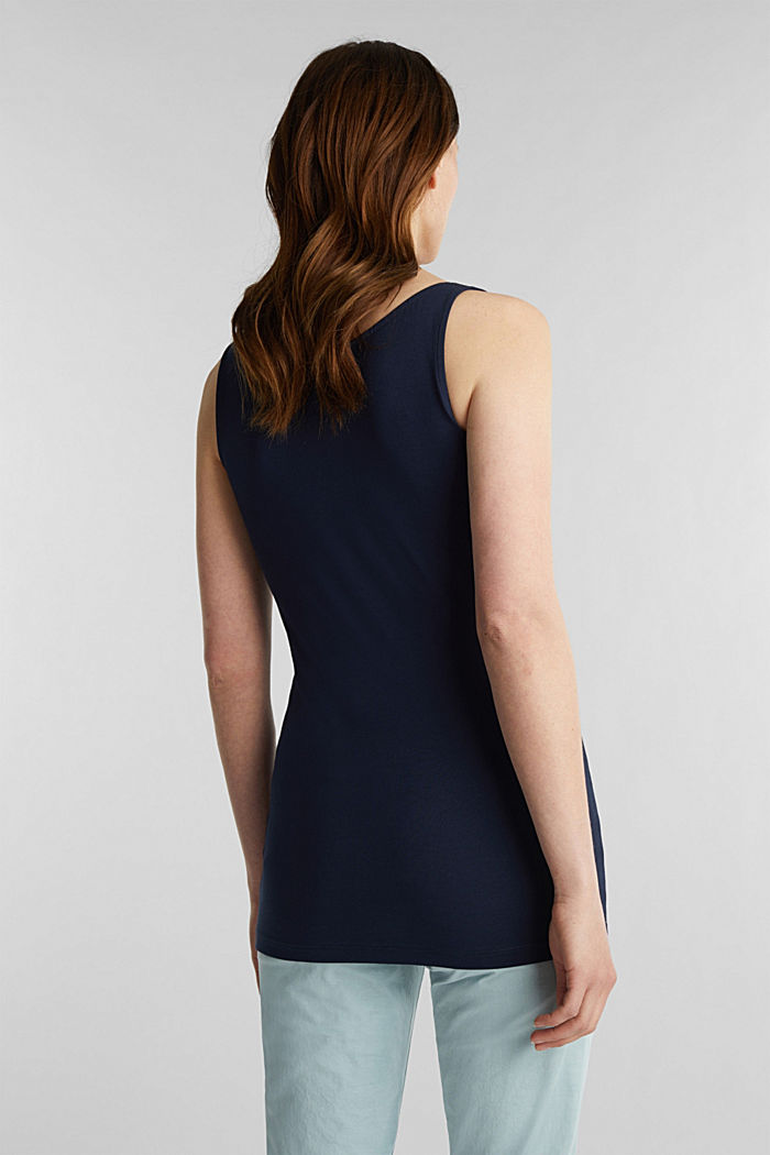 Basic top in stretch cotton, NAVY, detail image number 1