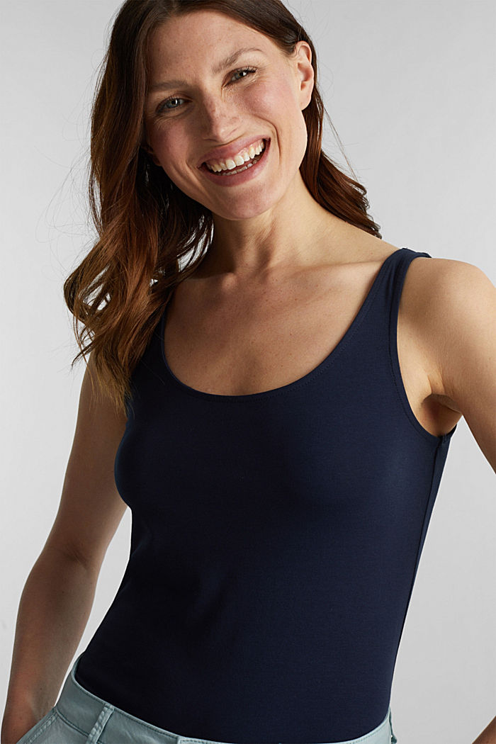 Basic top in stretch cotton, NAVY, detail image number 4