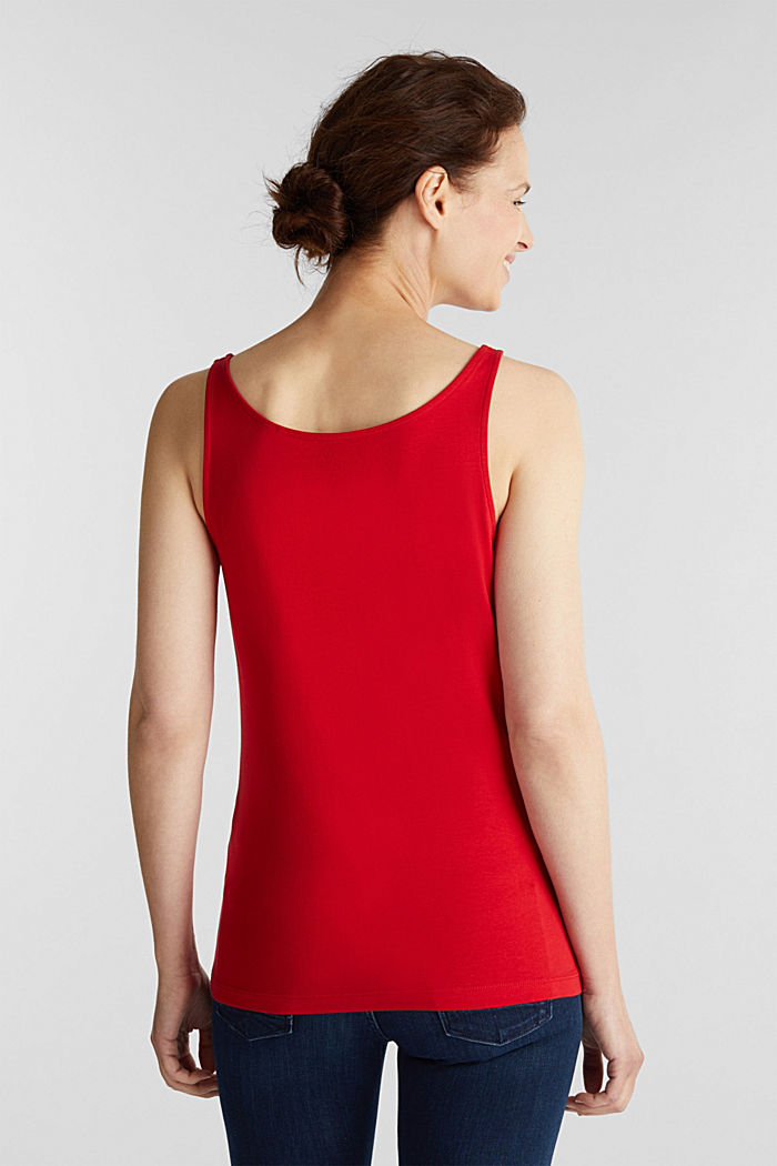 Basic top in stretch cotton, DARK RED, detail image number 3