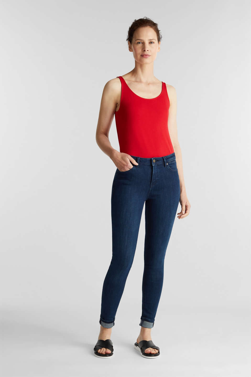 Basic top in stretch cotton, DARK RED, detail image number 1