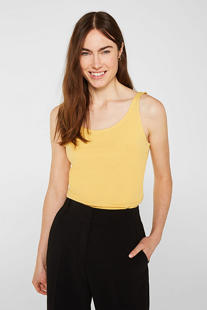 Basic top van katoen met stretch, YELLOW, detail image number 0
