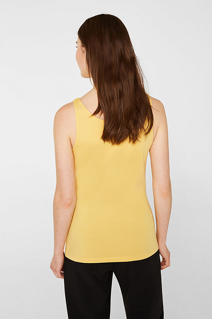 Basic top van katoen met stretch, YELLOW, detail image number 3