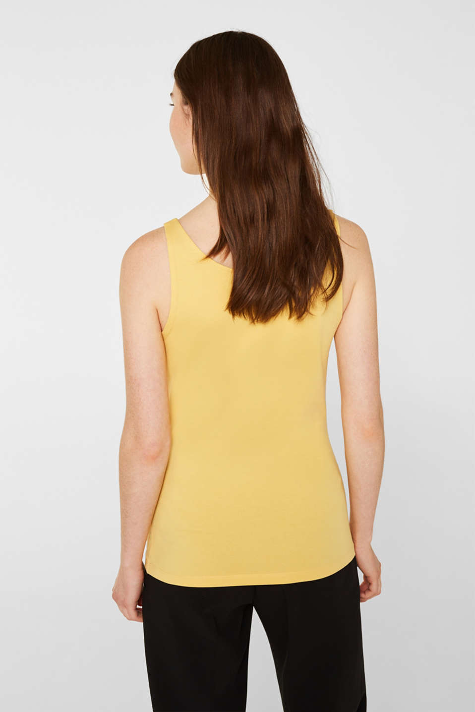 Basic top in stretch cotton, YELLOW 4, detail image number 3