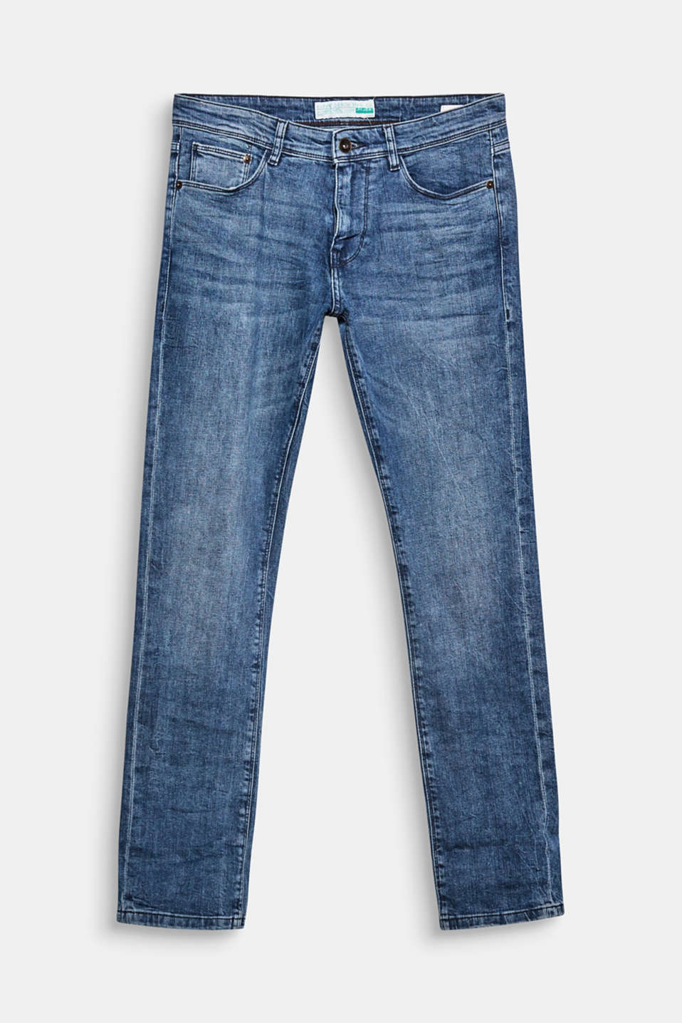 Five-pocket jeans in an authentic look with garment-washed effects and whiskering