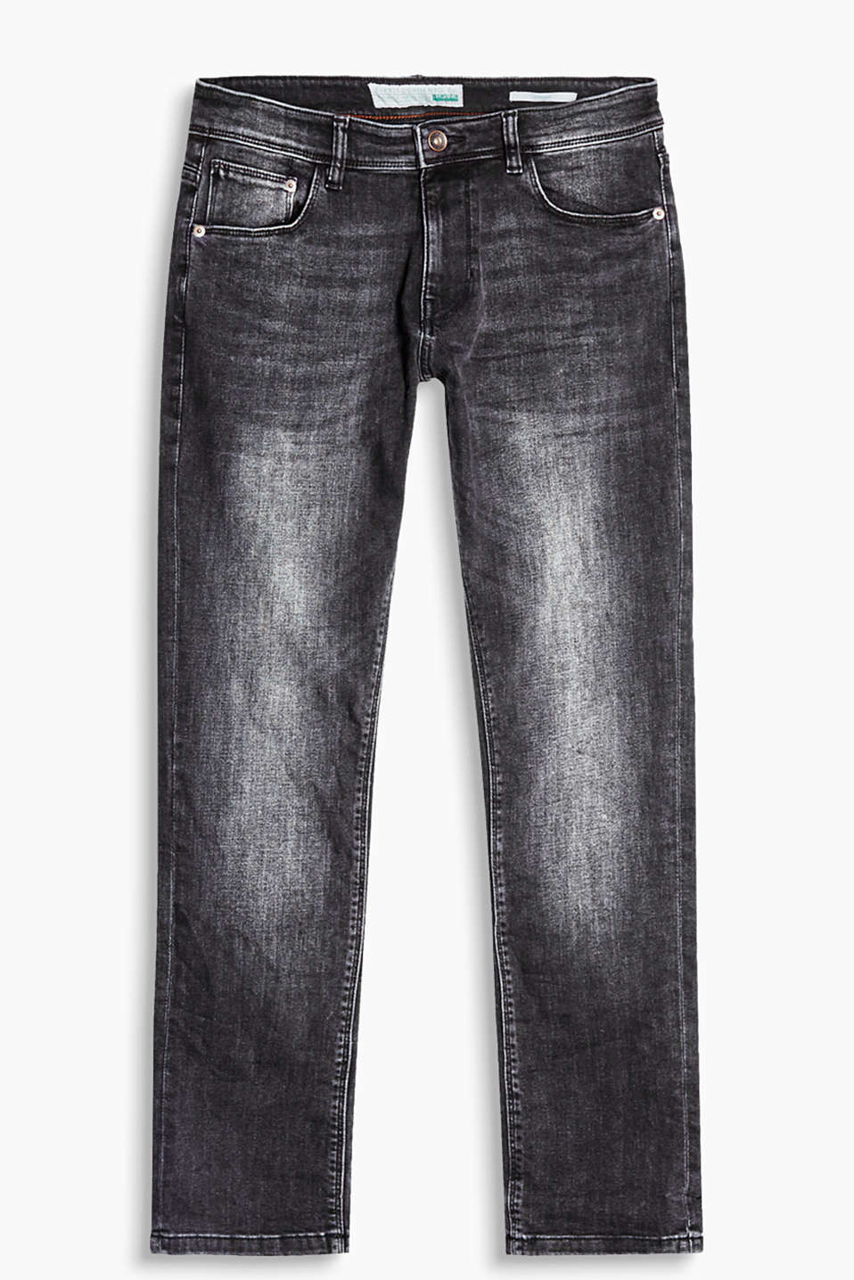 Mit Used Washed-Effekten: 5-Pocket-Jeans aus Organic Cotton, mit hohem Stretch-Anteil