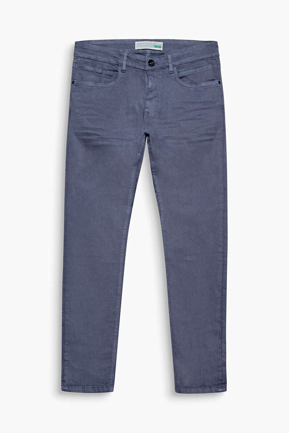 With a clean, deep black garment wash: five-pocket jeans in a stretchy organic cotton blend