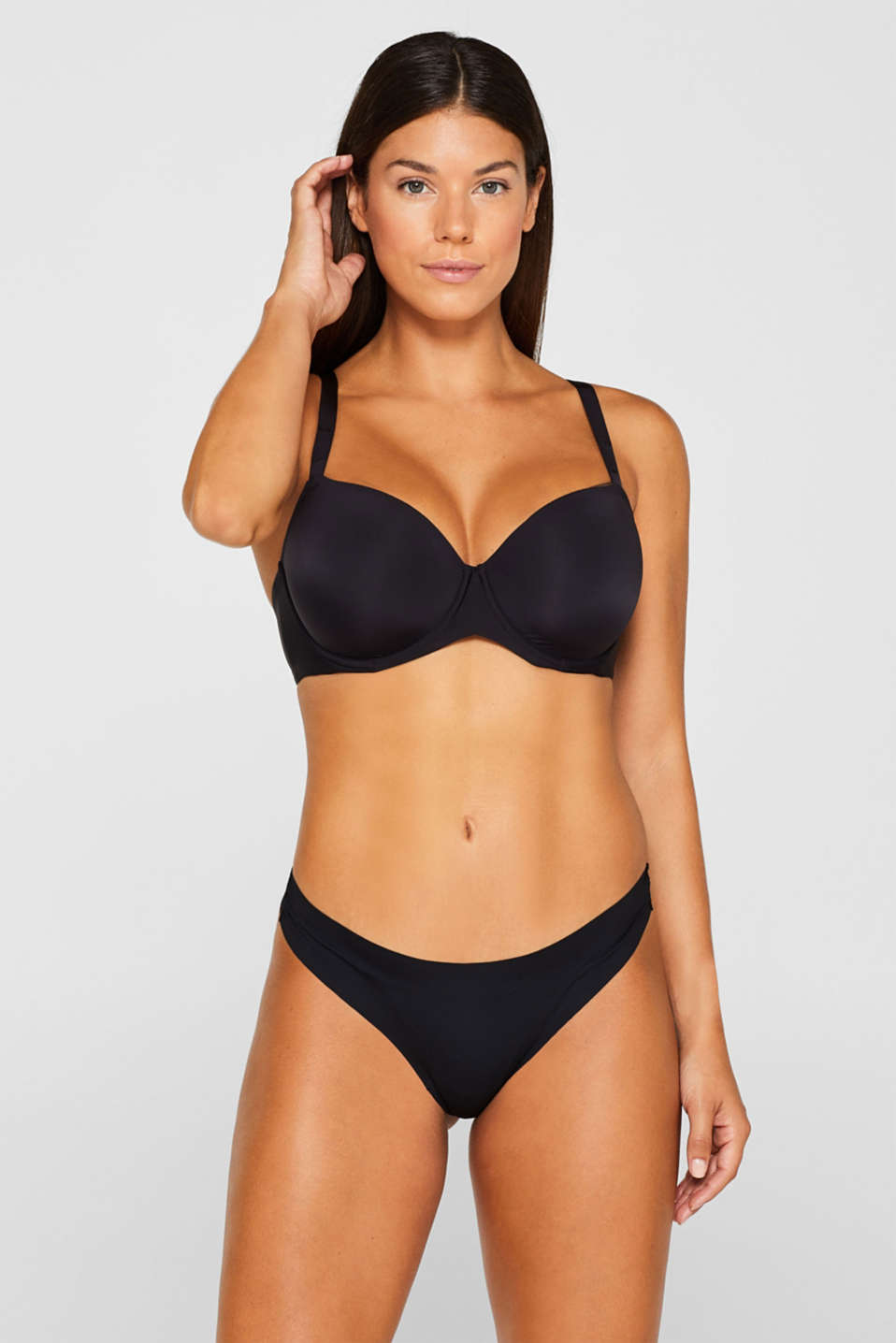 Padded, underwire bra for large cup sizes, BLACK, detail image number 0