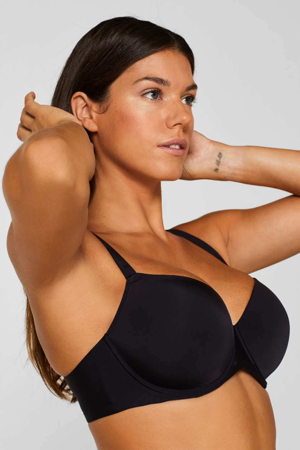 Padded, underwire bra for large cup sizes, BLACK, detail image number 2
