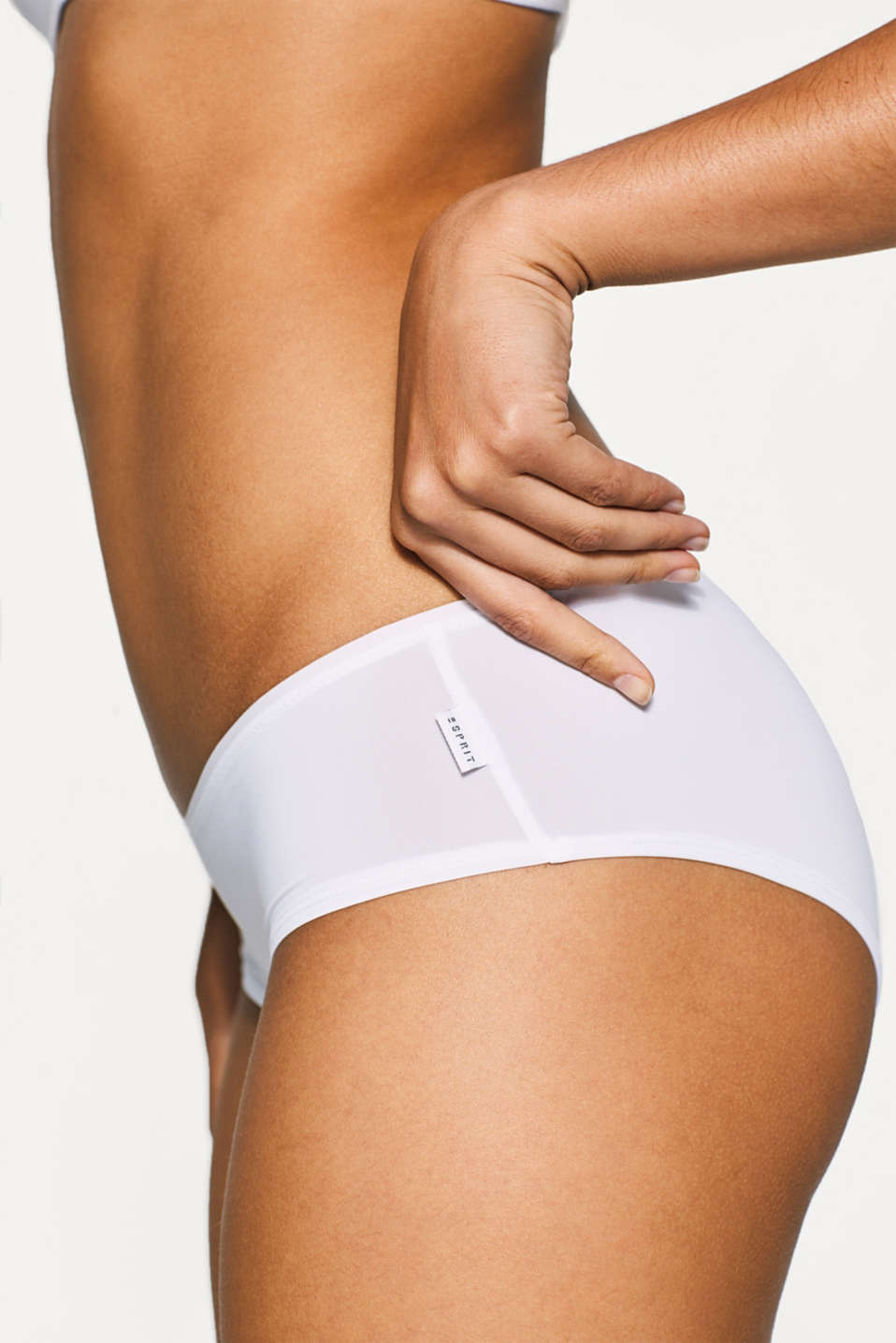 Two pairs of microfibre hipster shorts, WHITE, detail image number 1