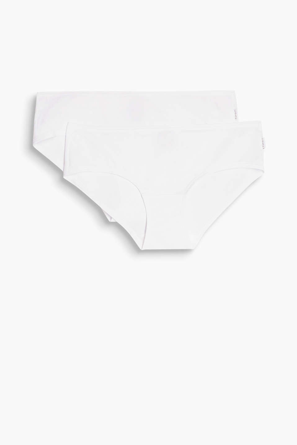Two pairs of microfibre hipster shorts, WHITE, detail image number 3