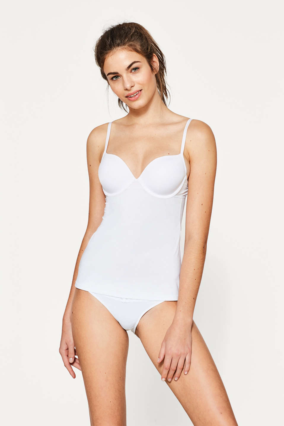 Camisole with padded underwire cups, WHITE, detail image number 0