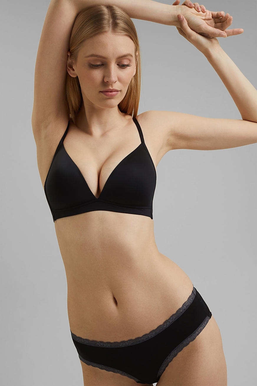 Padded non-wired microfibre bra