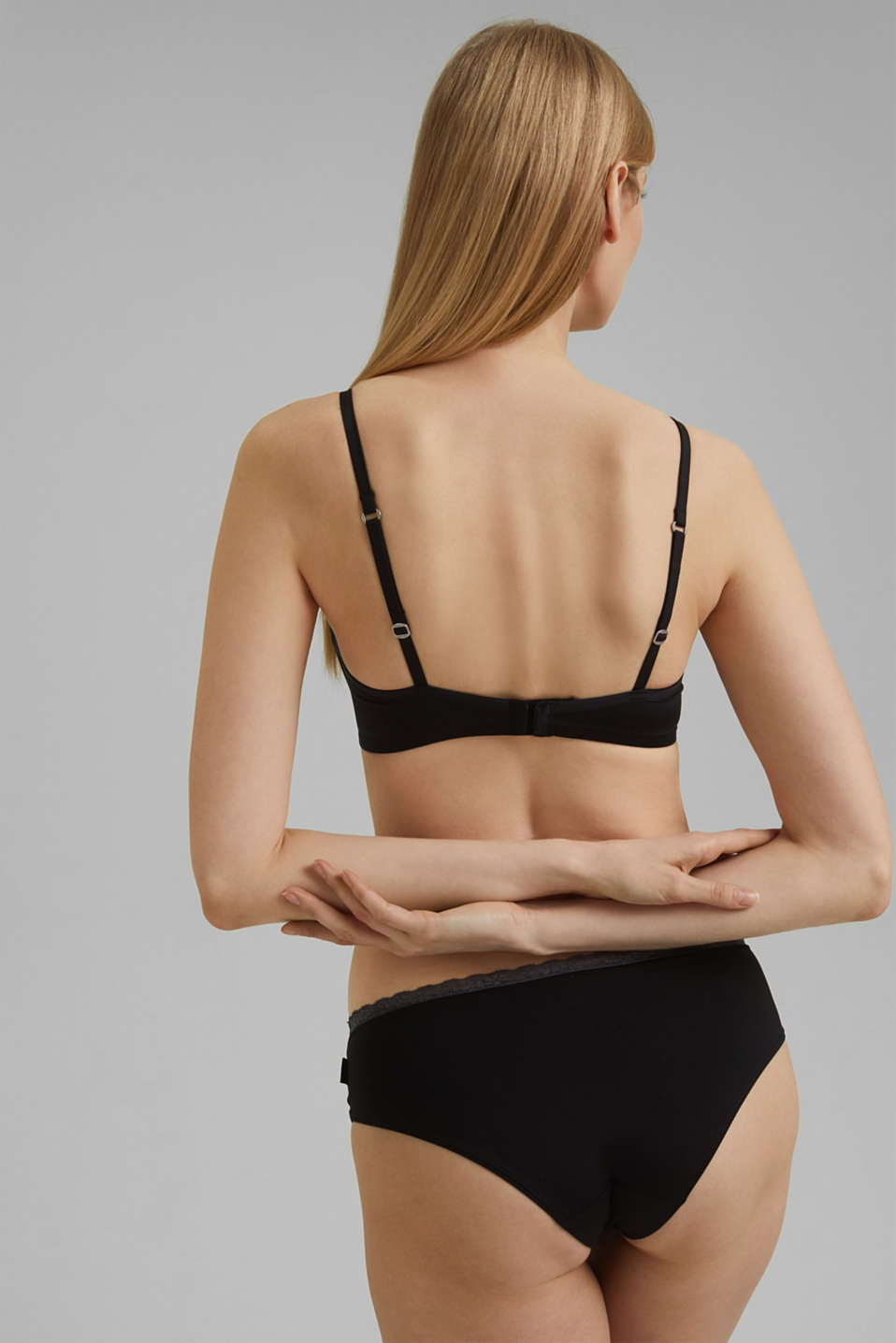 Padded non-wired microfibre bra, BLACK, detail image number 1