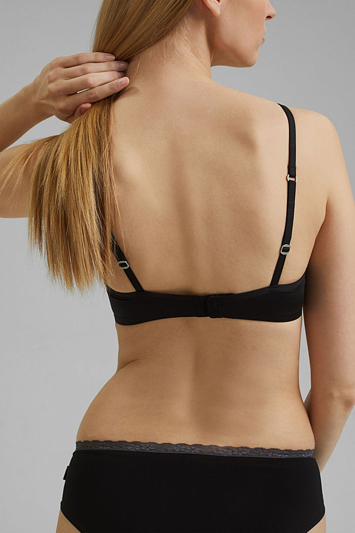 Padded non-wired microfibre bra, BLACK, detail image number 3