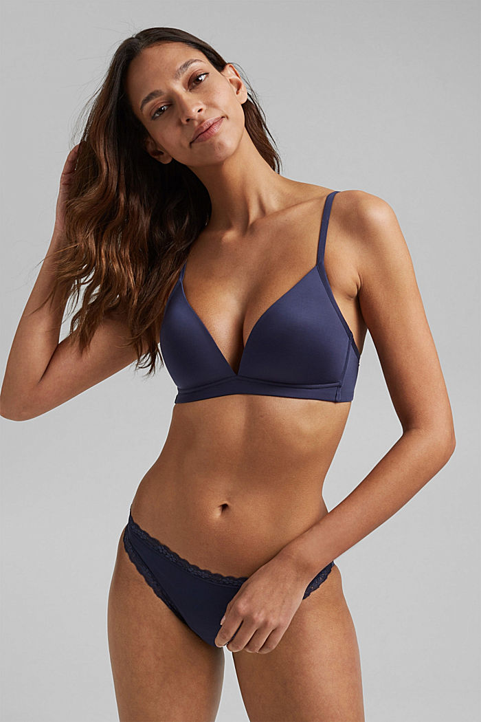 Padded non-wired microfibre bra, NAVY, detail image number 0