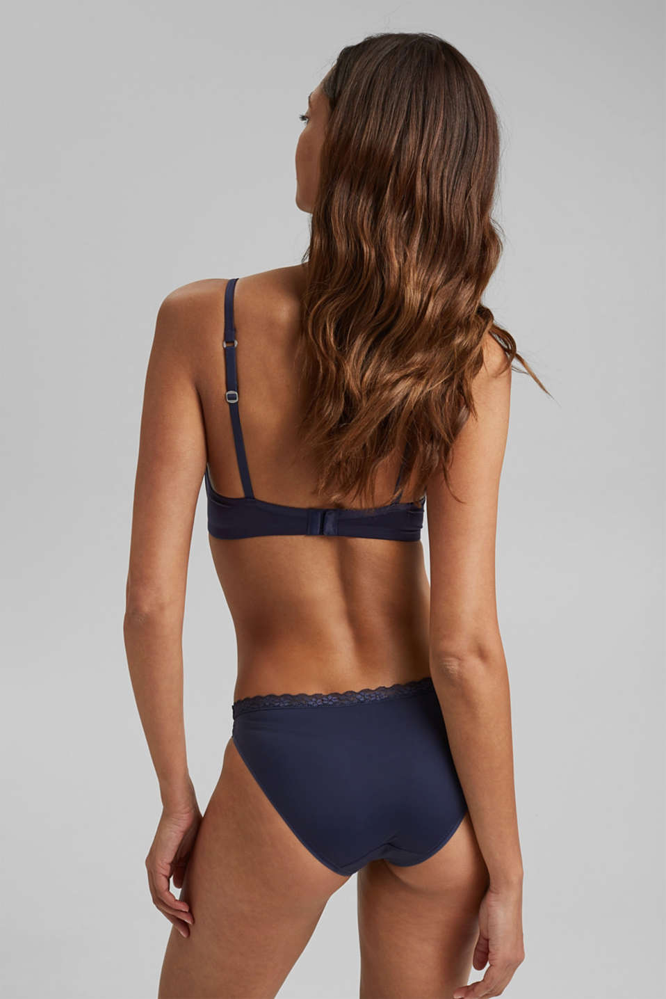 Padded non-wired microfibre bra, NAVY, detail image number 1