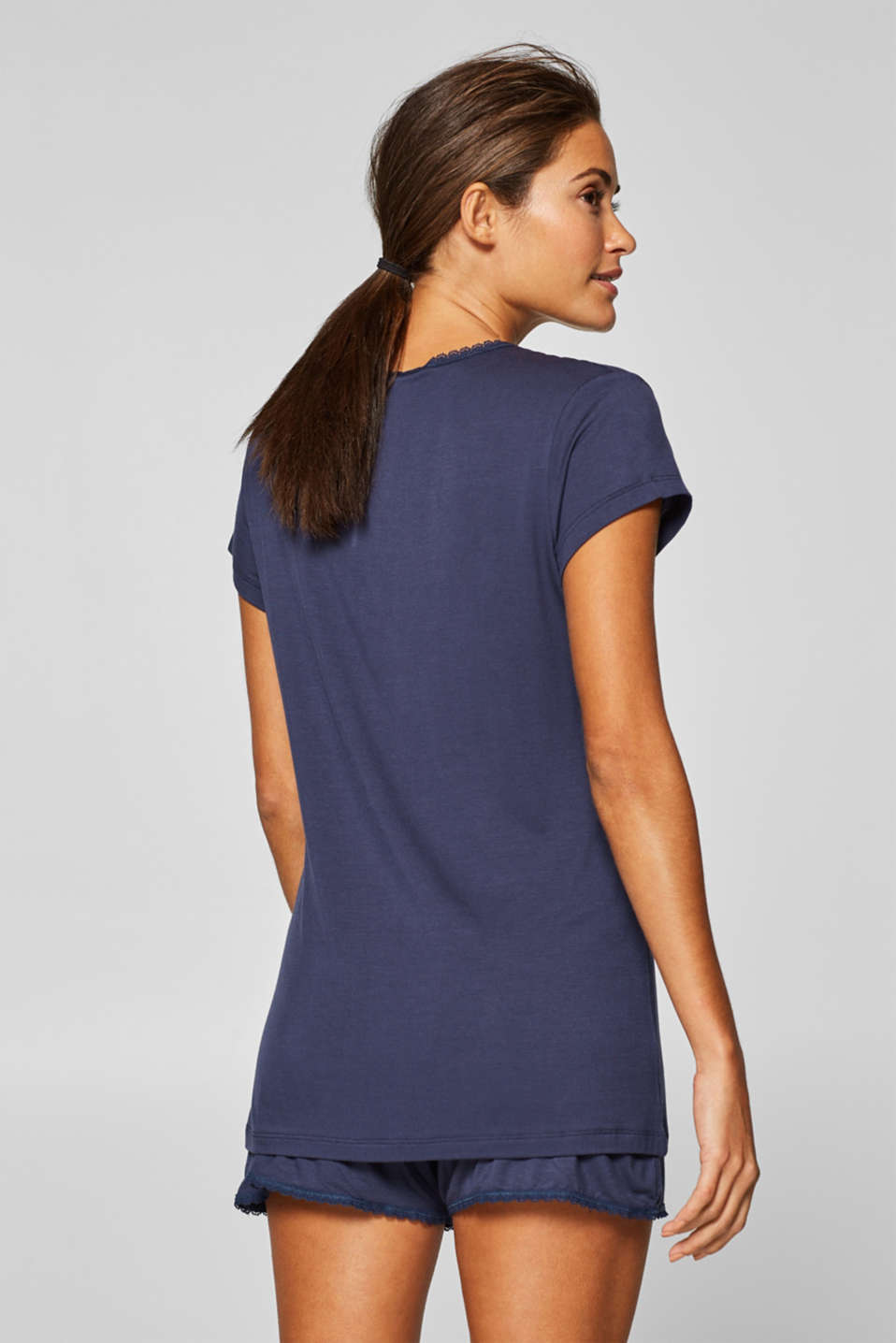 Stretch jersey top with a lace-trimmed neckline, NAVY, detail image number 1