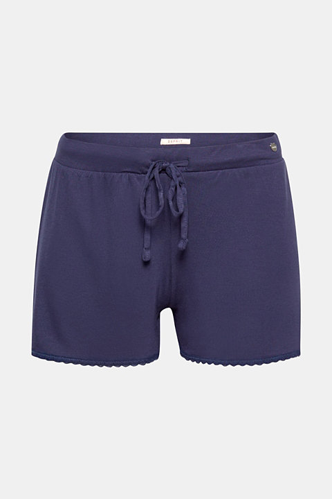 Stretch jersey shorts with lace hems
