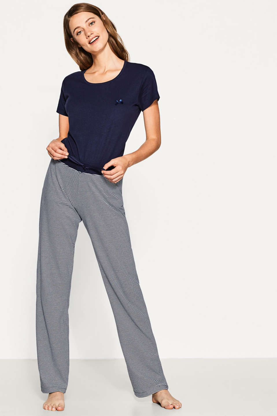 Esprit - Casual jersey trousers in 100% cotton