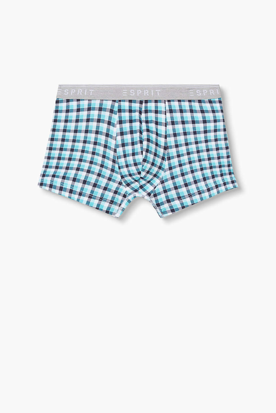 with a stunning plaid pattern and logo waistband
