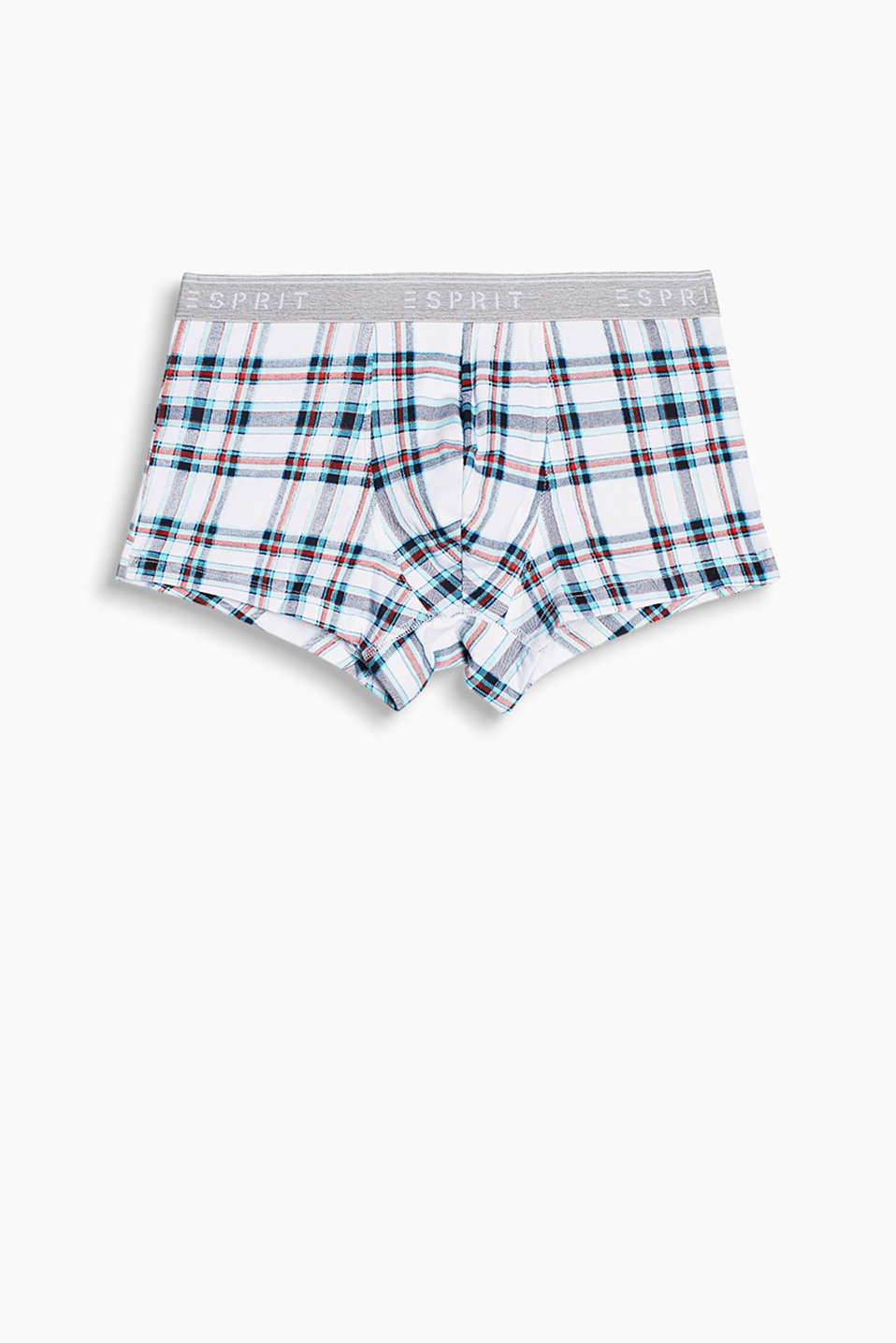 Hipster shorts with a modern check pattern and elasticated logo waistband, stretch cotton